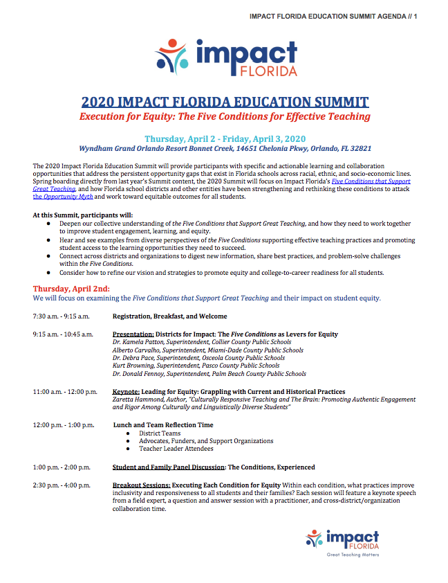2020 Education Summit Agenda