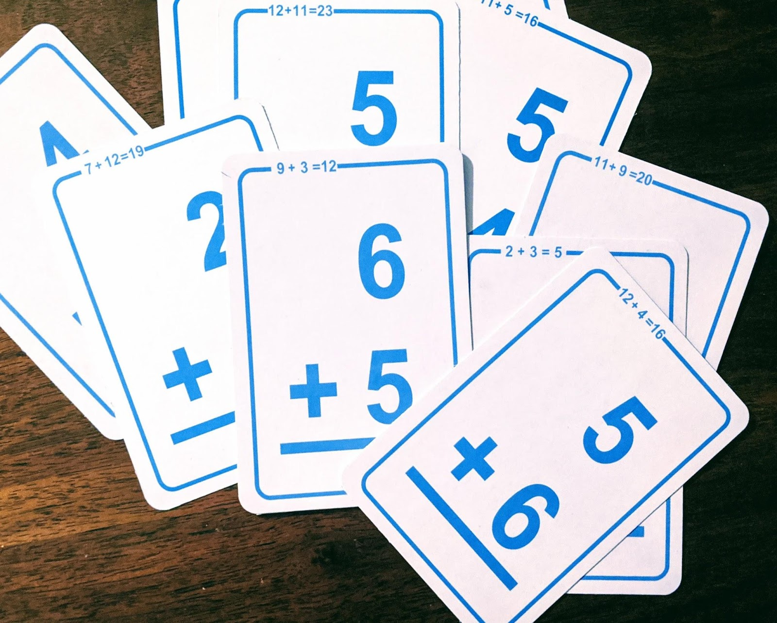 Addition cards spread out