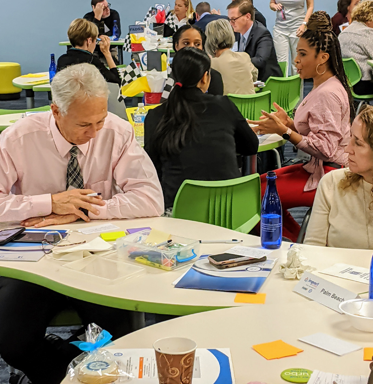 Cadre members engage in Design Thinking during their Learning Walk at a M-DCPS middle school.