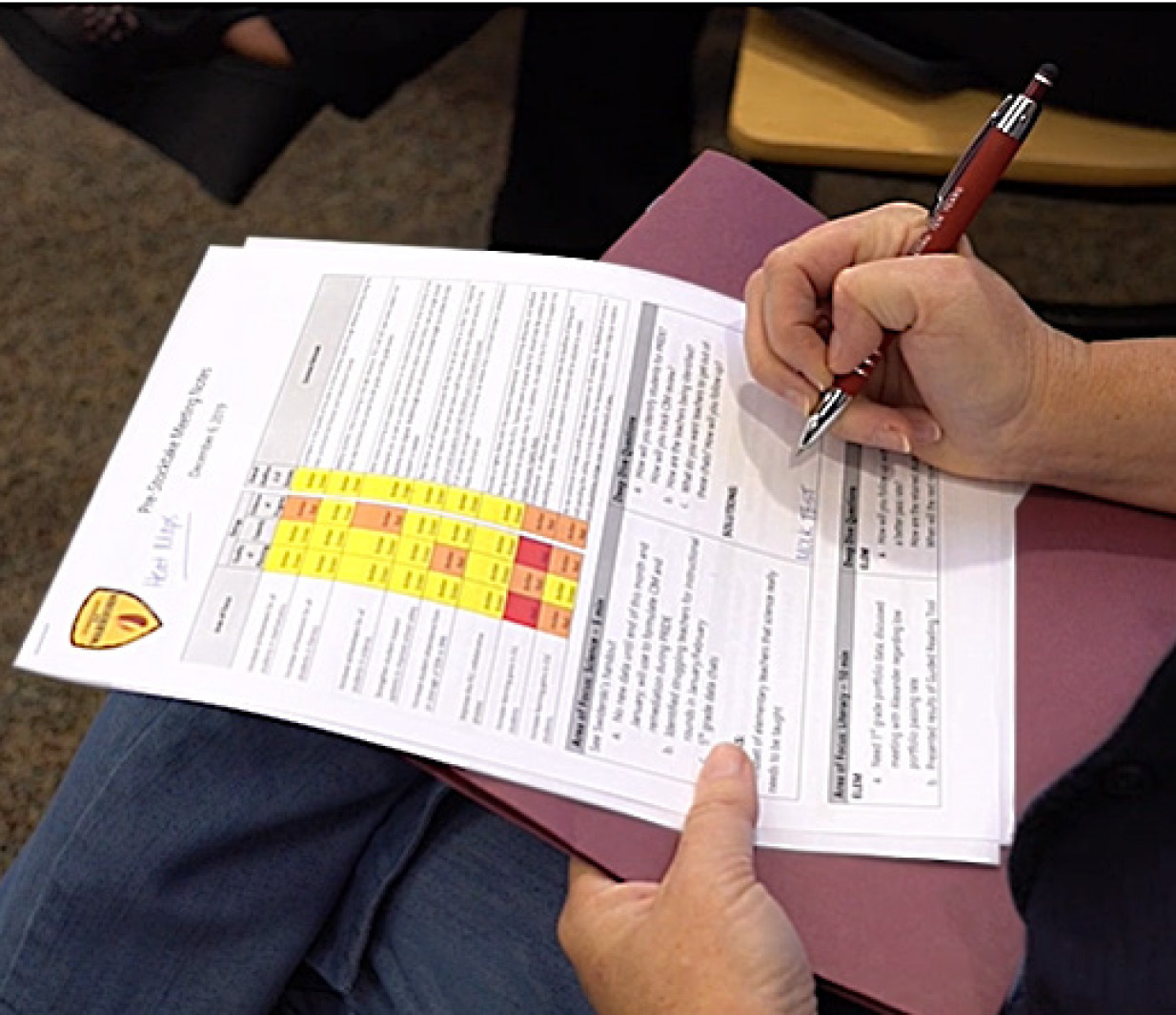 A Stocktake participant takes notes while reviewing the rating sheet, also referred to as a heat map.